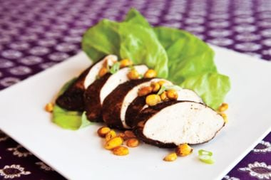 Cocoa-crusted Chicken Breasts with Curried Peanuts