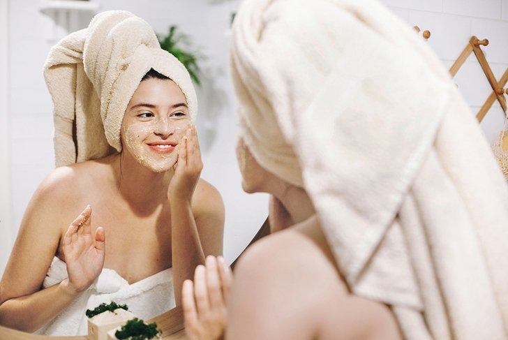 happy woman skin care face