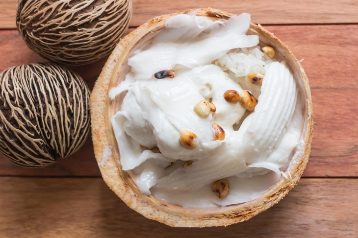 Coconut Ice Cream top view wood background / Food Stylist