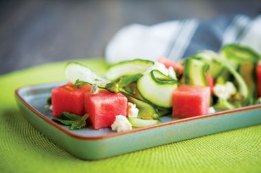 Cucumber and Watermelon Salad with Feta Cheese