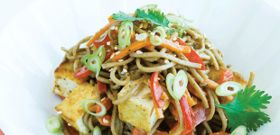 Meatless Monday: Soba Noodles with Almond Sauce and Pan-Seared Tofu