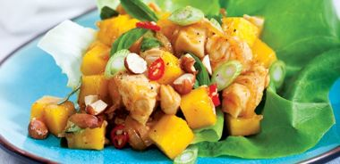 Lemongrass Chicken with Mango in Lettuce Cups