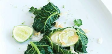 Malaysian White Fish Wrapped in Collard Leaves
