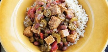 Smoked Tempeh and Okra Gumbo with Red Beans
