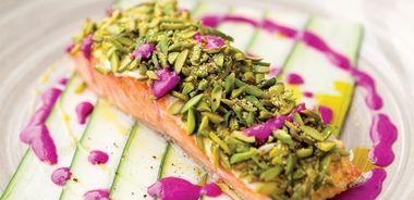 Pistachio-Crusted Salmon with Beet Yogurt Sauce
