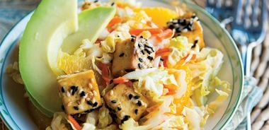 Asian Slaw with Sesame Tofu Cubes and Avocado