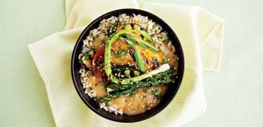 Rice Bowl with Grilled Veggies and Miso Gravy