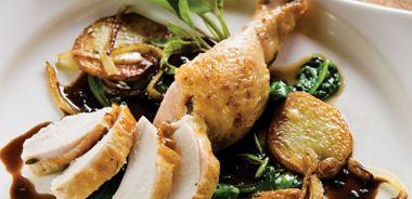 Eigensinn Chicken on the Spit with Wild Grape Sage Sauce