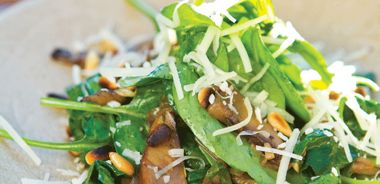 Warm Portobello Mushrooms with Spinach, Pine Nuts and Caramelized Shallots