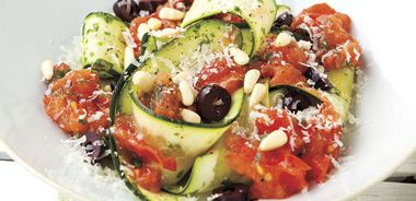 Zucchini Pasta Ribbons with Chunky Tomato Sauce and Pine Nuts