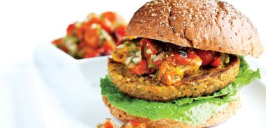 Quinoa Burgers with Rosted Cherry Tomato Salsa