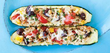 Zucchini Boats with Mediterranean Rice Salad