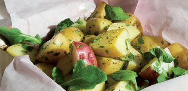 Potato and Arugula Salad with Mustard and Roasted Garlic Dressing