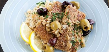 Tempeh with Syrian Lemon and Olive Sauce