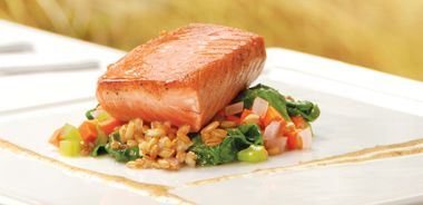 Tea-cured Wild Salmon with Wilted Summer Greens, Rye Berry Salad, and Mustard Vinaigrette