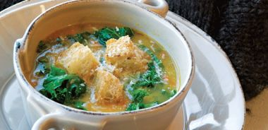 Winter Greens Soup with Parmesan Garlic Croutons
