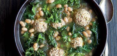 Escarole White Bean Soup with Turkey Meatballs