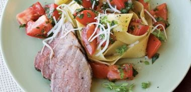 Pappardelle with Peppered Beef, Basil, and Tomatoes