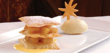 Caramelized Pear Phyllo with Five-Spice Ice Cream