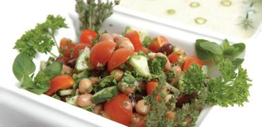 Colourful Two Bean Salad with Tomatoes and Parsley