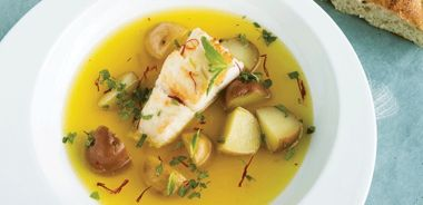 Haddock with Saffron Broth and New Potatoes
