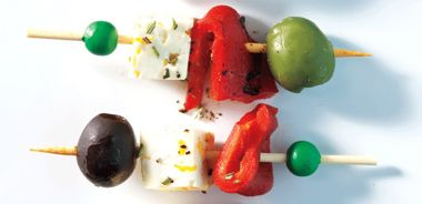 Marinated Feta, Olive and Roasted Red Pepper Skewers