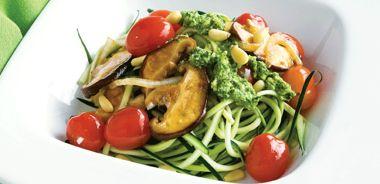Zucchini Pasta with Marinated Cherry Tomatoes and Pesto