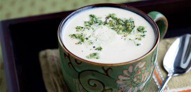 Roasted Cauliflower Cashew Soup with Brazil Nut Pesto