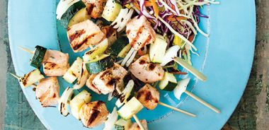 Grilled Salmon Kebabs with Avocado Coleslaw