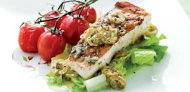 Grilled Fish with Lemon, Oregano and Olives
