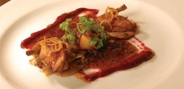 Honey Glazed Quail with Fennel Salad and Cranberry/Chestnut Marmalade