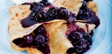 Cornmeal Crepes with Maple Blueberries
