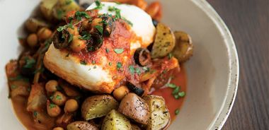 Tomato Poached Halibut with Roasted Potatoes