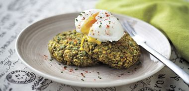 Pea Cakes with Poached Eggs