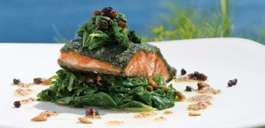 Sea Lettuce-Crusted Wild Sockeye Salmon with Sauted Vegetables