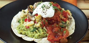 Egg Tacos with Chipotle Tomato Jam