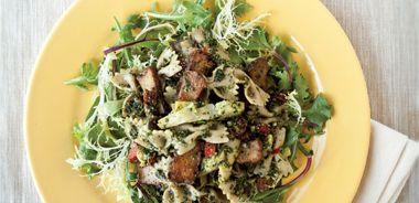 Farfalle and Seitan Salad with Pecan Pesto
