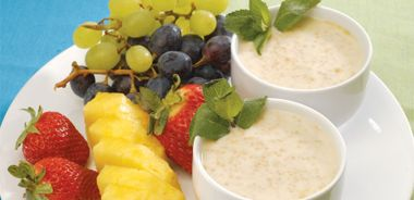 Creamy Couscous Almond Pudding served with Seasonal Fruit