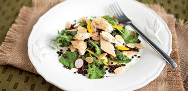 Smoked Trout and Almond Salad with Walnut Vinaigrette