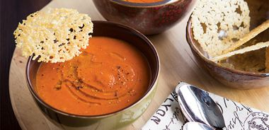 Tomato Roasted Red Pepper Soup with Parmesan Crisps