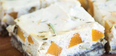 Rosemary Butternut Squash Tofu Quiche Squares