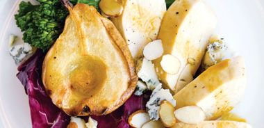 Chicken and Pear Bake with Walnuts and Crumbled Blue Cheese