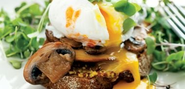 Poached Eggs, Mushrooms, and Micro Greens