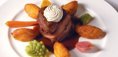 Alberta Bison Filet Wrapped in Smoked Bacon with Red Wine Sauce and Maple Whisky Butter