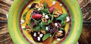 Roasted Rhubarb and Beet Salad