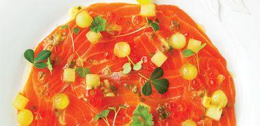 Salmon and Honeydew Carpaccio