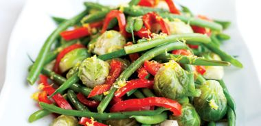 Brussels Sprouts, Beans, and Red Pepper