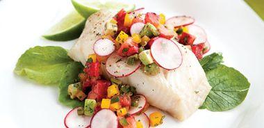 Sablefish with Strawberry Radish Salsa