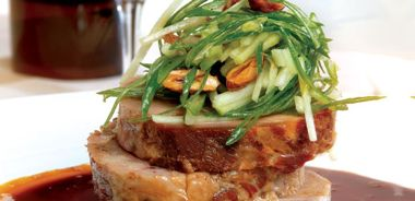 All-night Roasted Shoulder of Organic Pork with Green Apple, Scallions and Almonds