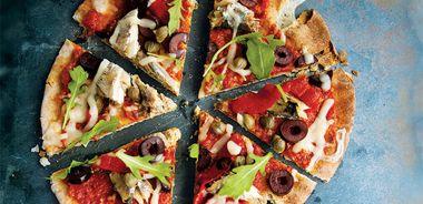 Sardine Pita Pizzas with Sun-Dried Tomato Sauce